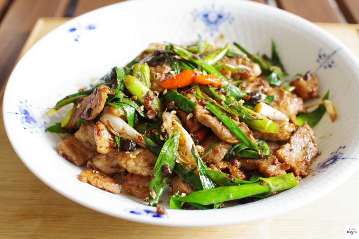 豚肉と葉ニンニクの炒め物