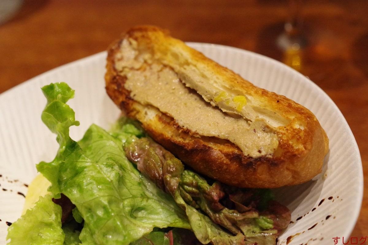 嶋家サラダ、レバーパテのパン02