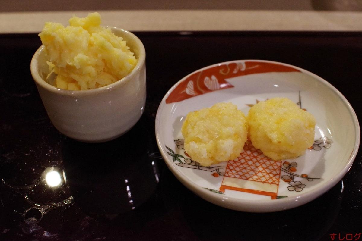 江戸前芝浜芝海老真薯と盛り芋