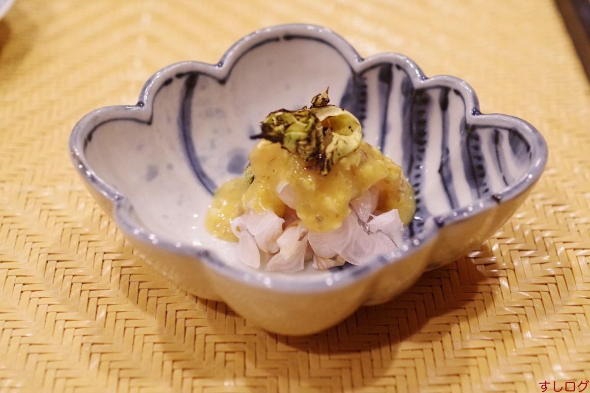 仙八太刀魚の蕗の薹酢味噌添え