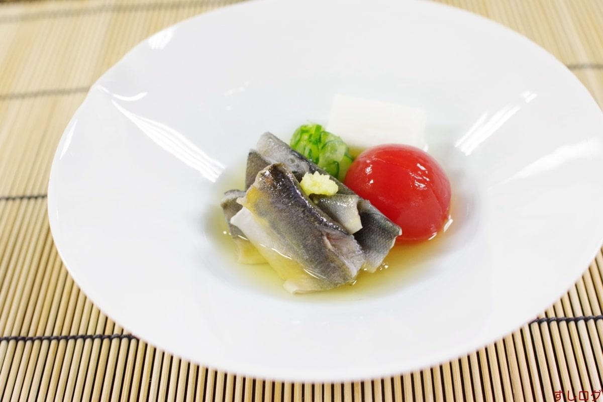美加登家酢のもの:鮎昆布〆、胡瓜、山芋、トマト