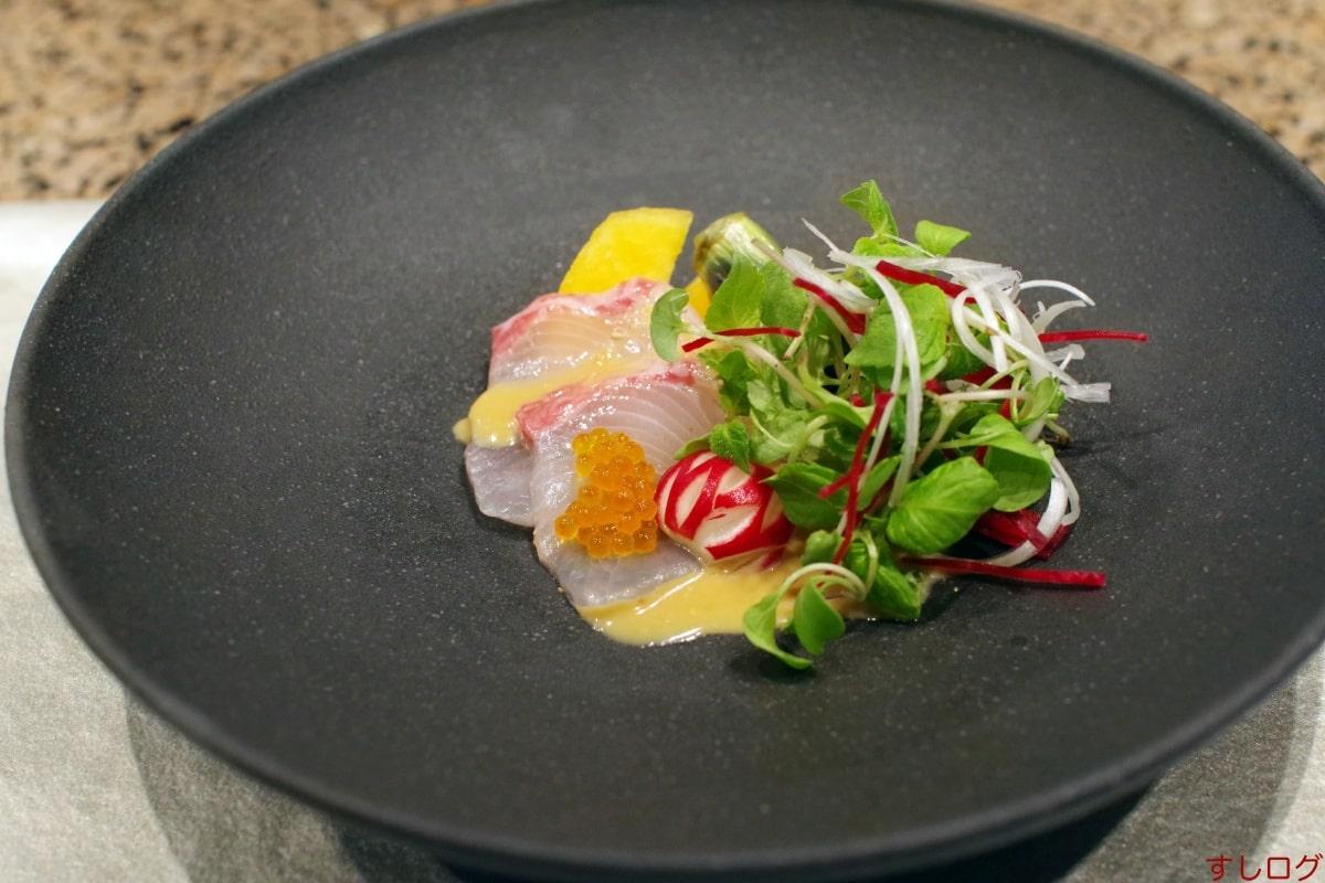 愛宕広島産柿とカンパチの木の実和え